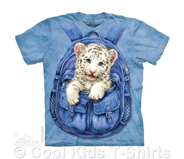 Backpack White Tiger Kids Tie Dye T-Shirt