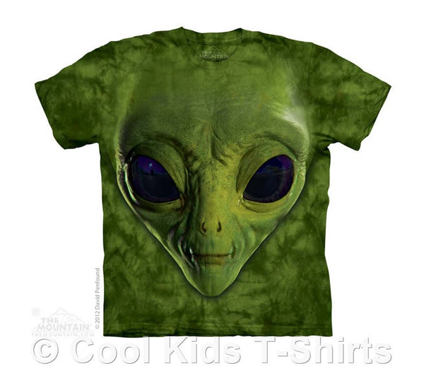 Green Alien Face Kids Tie Dye T-Shirt