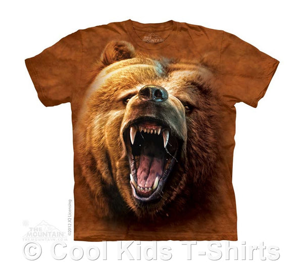 Grizzly Bear Growl Kids Tie Dye T-Shirt