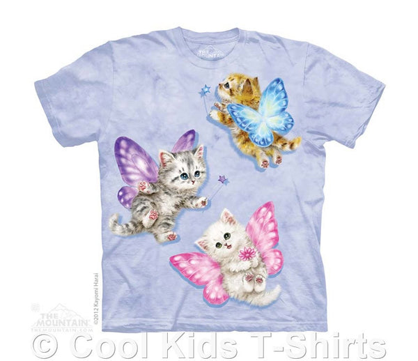 Butterfly Fairy Kittens Kids Tie Dye T-Shirt
