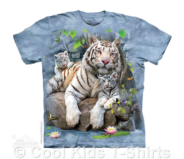 White Tigers of Bengal Kids Tie Dye T-Shirt