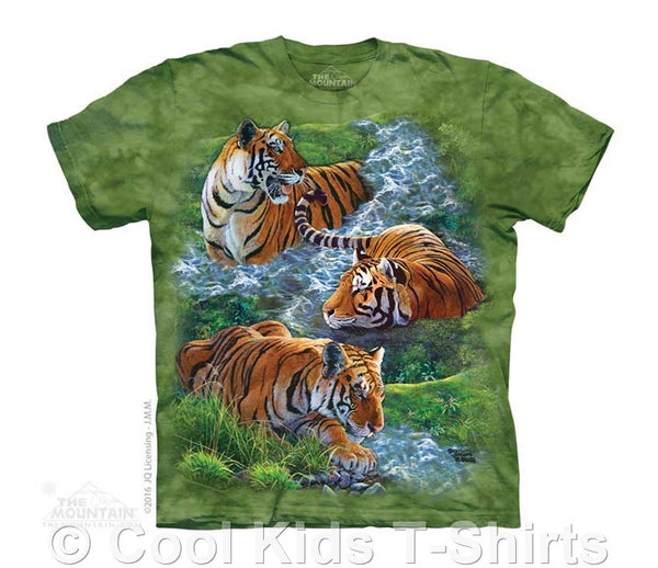Water Tiger Collage Kids Tie Dye T-Shirt