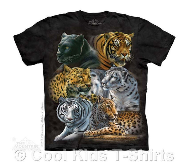 Big Cats Kids Tie Dye T-Shirt (Black)