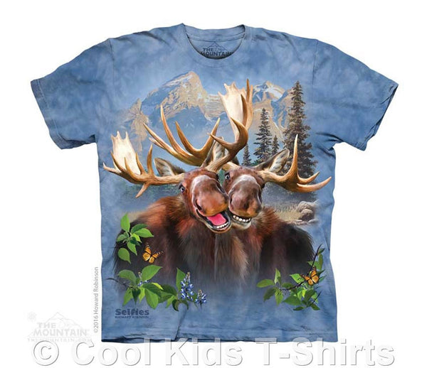 Moose Selfie Kids Tie Dye T-Shirt
