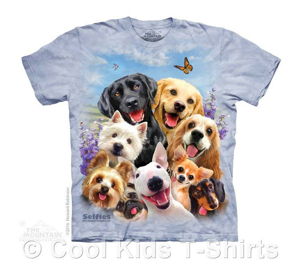 Dog Selfie Kids Tie Dye T-Shirt
