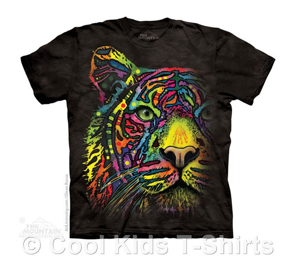 Rainbow Tiger Kids Tie Dye T-Shirt by Dean Russo