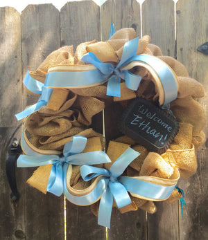Baby Boy Burlap Wreath - Blue Baby Burlap Wreath - Bonnie Harms Designs