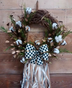 Winter Cotton Wreath - Bonnie Harms Designs