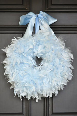 Feather Baby Boy Wreath - Baby Blue Wreath - Bonnie Harms Designs