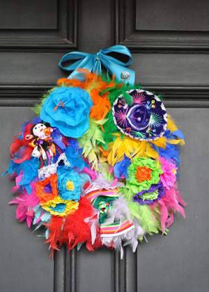Fabulous Fiesta Feather Wreath - Bonnie Harms Designs
