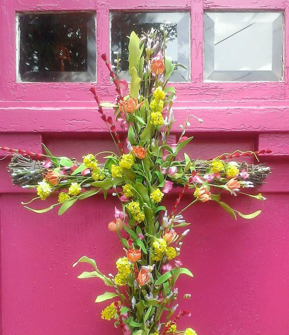 Vibrant Floral Cross Wreath