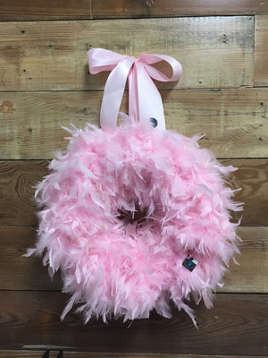 Feather Baby Girl Wreath - Pink Baby Girl Wreath -  Bonnie Harms Designs