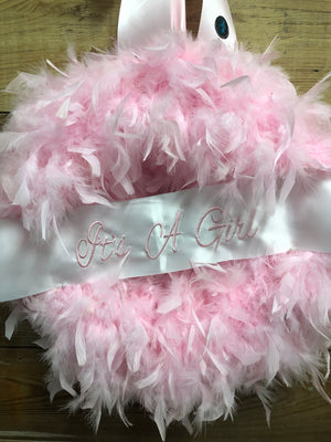 It's A Girl Feather Wreath - Pink Baby Girl Wreath - Bonnie Harms Designs