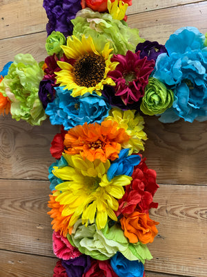 Fiesta Floral Cross Wreath - Bonnie Harms Designs