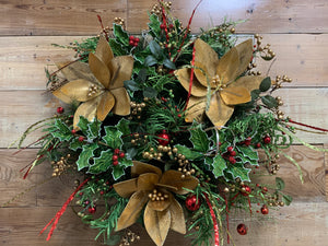 Gold Poinsettia Wreath - Bonnie Harms Designs