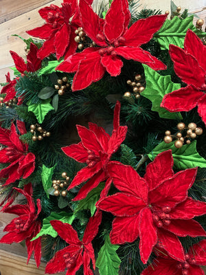 Poinsettia Christmas Wreath