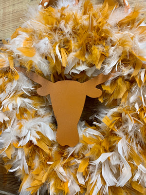 UT Longhorn Feather Wreath - Bonnie Harms Designs