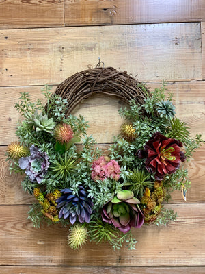 Spring Succulent Wreath - Bonnie Harms Designs