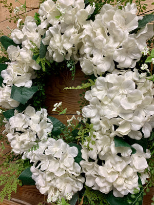 White Hydrangea Wedding Wreath - Bonnie Harms Designs