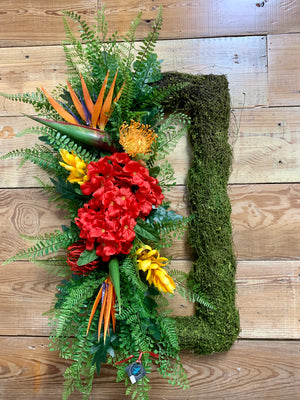 Tropical Rectangular Summer Wreath  with moss, birds of paradise, fern greenery, Bonnie Harms Designs