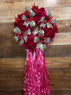 Affair of the Heart - Valentine's Day Wreath - Red Rose Wreath