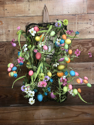 Easter Eggs and Spring Flowers Wreath - Bonnie Harms Designs