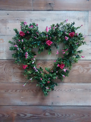 Love is in the Air-Valentine Boxwood Heart Wreath - Bonnie Harms Designs