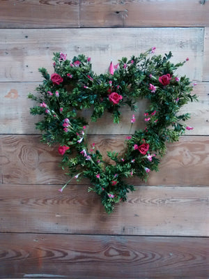 Love is in the Air-Valentine Boxwood Heart Wreath