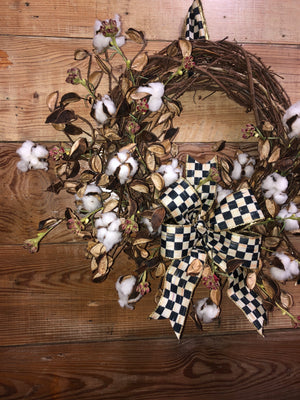 Cotton Wreath with Mackenzie Child's Bow - Bonnie Harms Designs