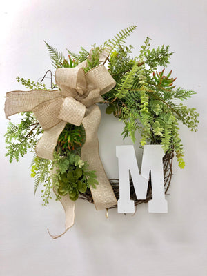 Farmhouse Fern Wreath - Block Letter M - Bonnie Harms Designs