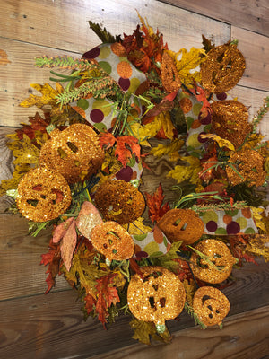 Shimmering Fall Pumpkin Wreath - Bonnie Harms Designs