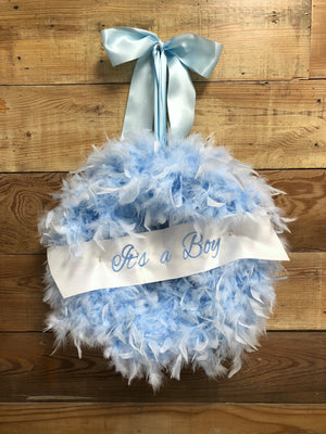 It's A Boy Feather Wreath - Bonnie Harms Designs
