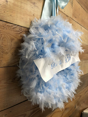 It's A Boy Feather Wreath - Baby Boy Wreath - Bonnie Harms Designs