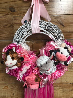 Baby Girl Farm Animal Wreath - Farm Baby Shower Wreath - Bonnie Harms Designs