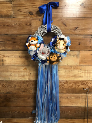 Baby Boy Zoo Animal Wreath - Zoo Baby Shower Wreath - Bonnie Harms Designs