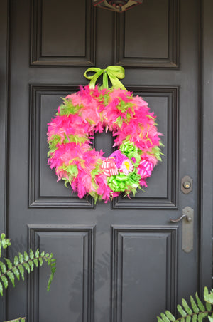 Ooh La La Pink and Lime Feather Spring Wreath with Fiesta Paper Flowers