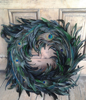 Peacock Feather Wreath - Bonnie Harms Designs