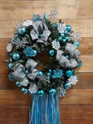 Christmas Wreath-Silver and Blue - Bonnie Harms Designs