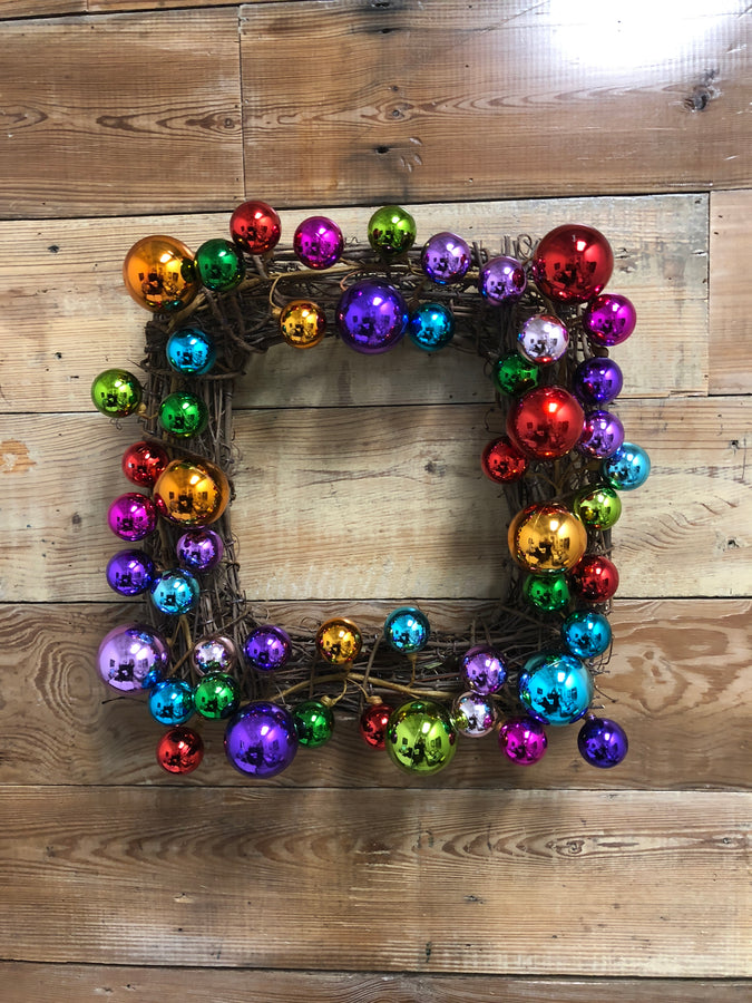 Square Christmas Ornament Wreath