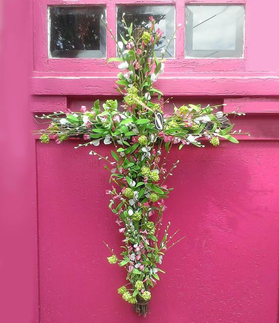 Summer Floral Cross Wreath