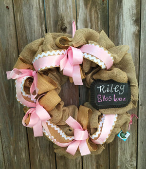 Baby Girl Burlap Wreath - Pink Burlap Wreath - Bonnie Harms Designs