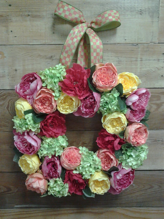 Summer Cabbage Rose and Hydrangea Floral Wreath