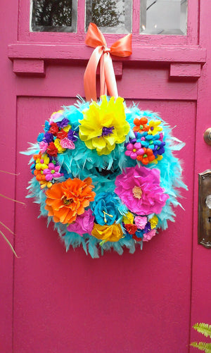 Casa Bonita Wreath - Light Turquoise - Bonnie Harms Designs