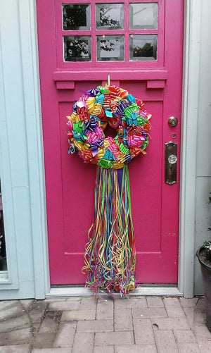 Fiesta Ribbon Wreath - Bonnie Harms Designs