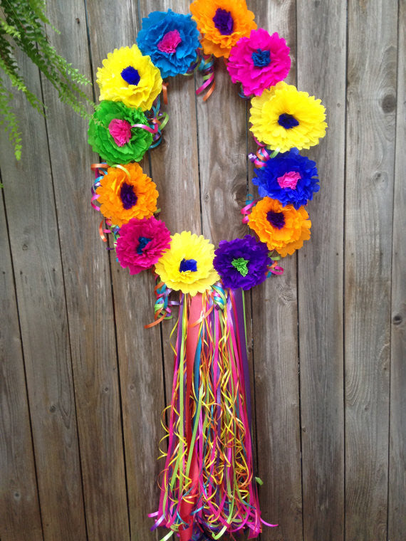 Oval Mexican Paper Flower Wreath