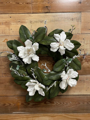 White Winter Magnolia Wreath