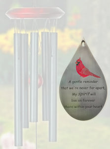 """Cardinal Comfort Collection"" Evergreen 17 inch Wind Chime by Weathered Raindrop"