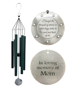 Large Deep Tone Memorial Evergreen Through the Strongest of Storms Sympathy Wind Chime 33 inch by Weathered Raindrop