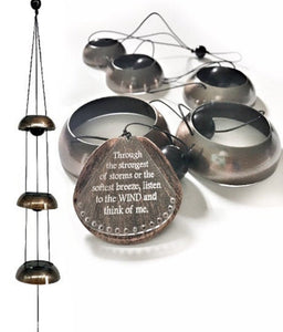 """Beautiful Breeze Bells"" 3 Tiered Memorial Copper Wind Bells by Weathered Raindrop"