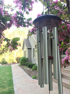 Memorial Wind Chime Your Song Has Ended but your Melody Carries on 26 inch Grieving Gift Custom Gift After Loss Of Loved One Pluto Silver